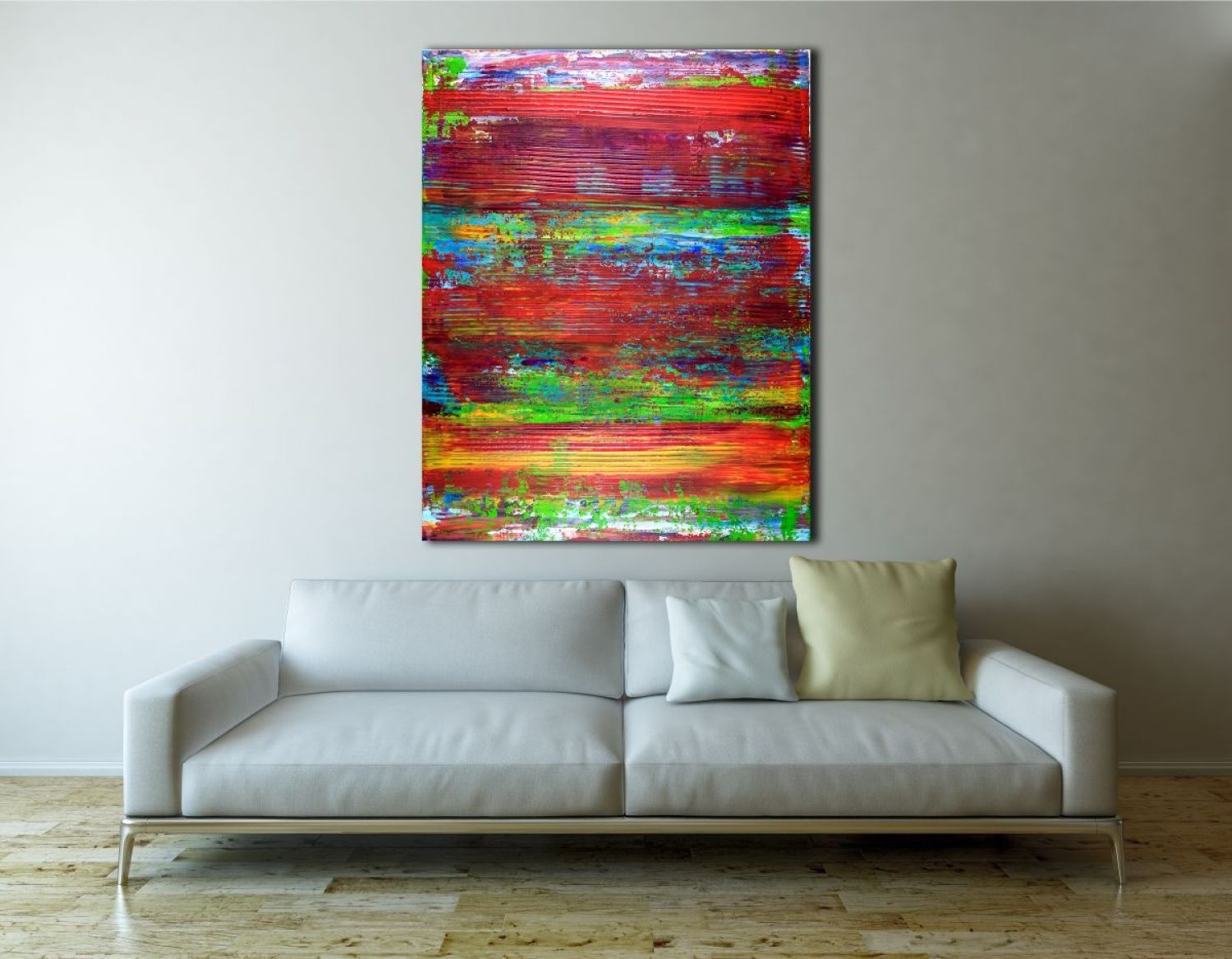 Vibrant piece with bold color blending, Iridescent paint drips and big palette knife strokes. This painting conveys motion, energy as well as lots of light and fast changes in contrast. Make me thi...