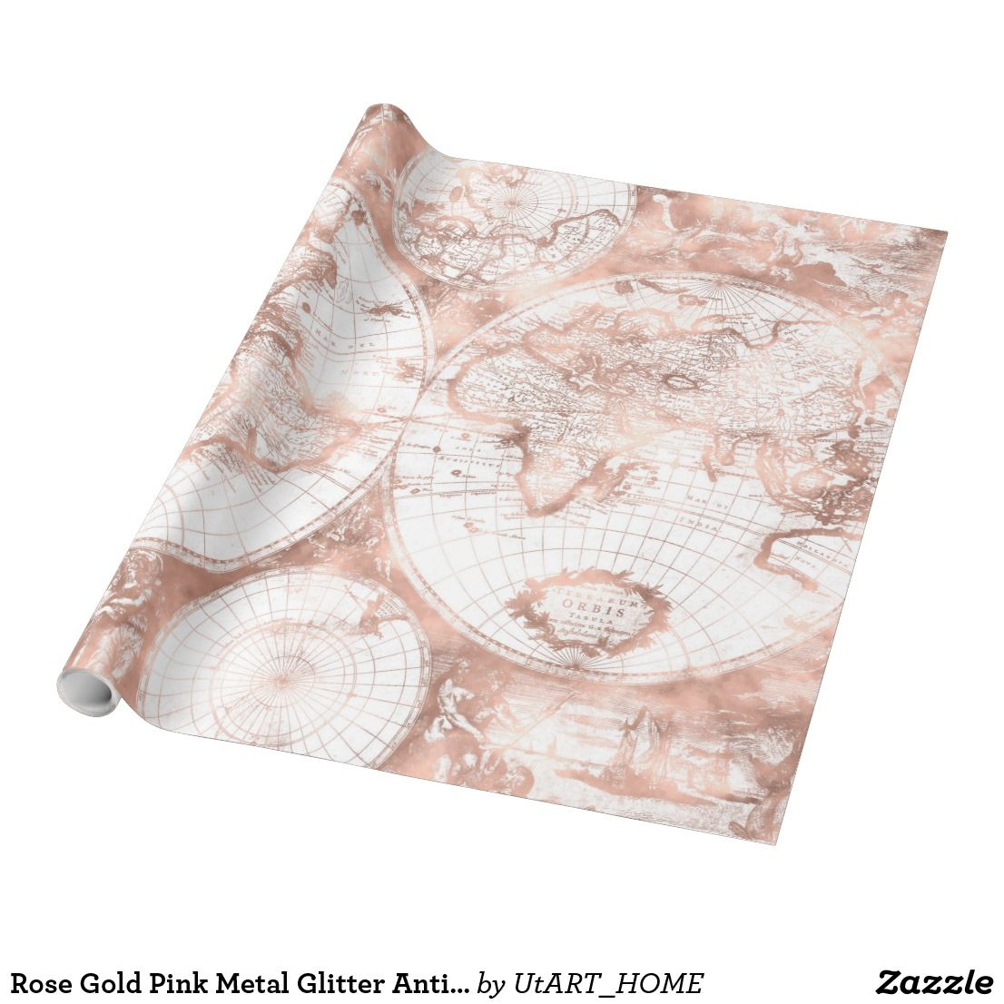 Rose gold pink metal glitter antique world map wrapping paper rose gold pink metal glitter antique world map wrapping paper this trendy retro shimmering world map showes an historic print of the world globe with usa gumiabroncs Choice Image