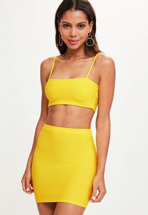 17d7b216baf Missguided Yellow Bandage Mini Skirt