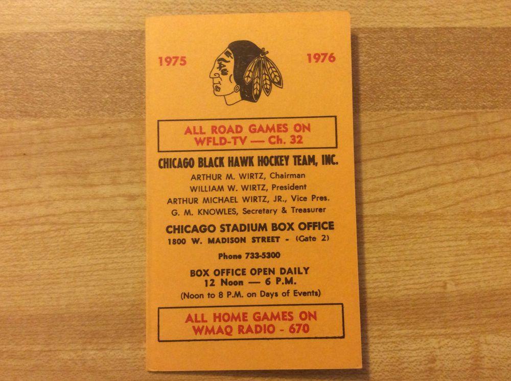 197576 Chicago Blackhawks Hockey Pocket Schedule Vintage