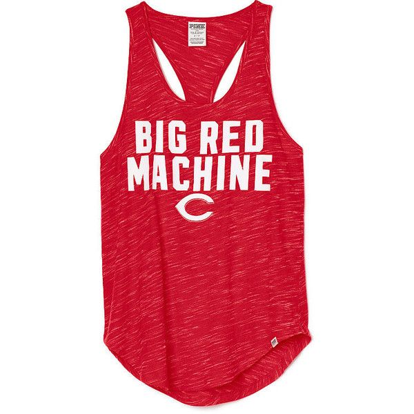 PINK Cincinnati Reds Racerback Tank ($13) ❤ liked on Polyvore featuring  tops, red
