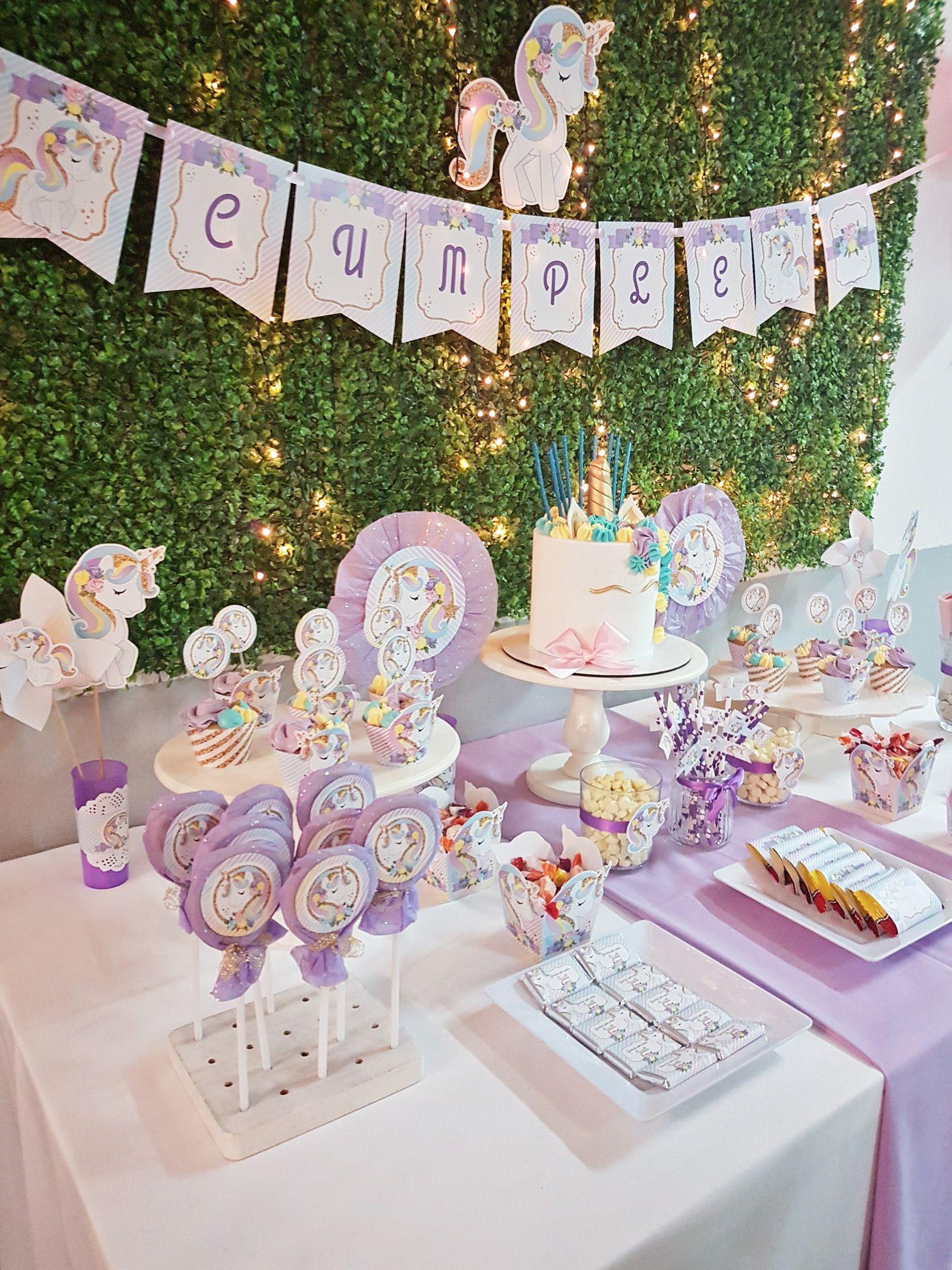 Mesa dulce de Unicornios Cumpleaos infantiles Pinterest