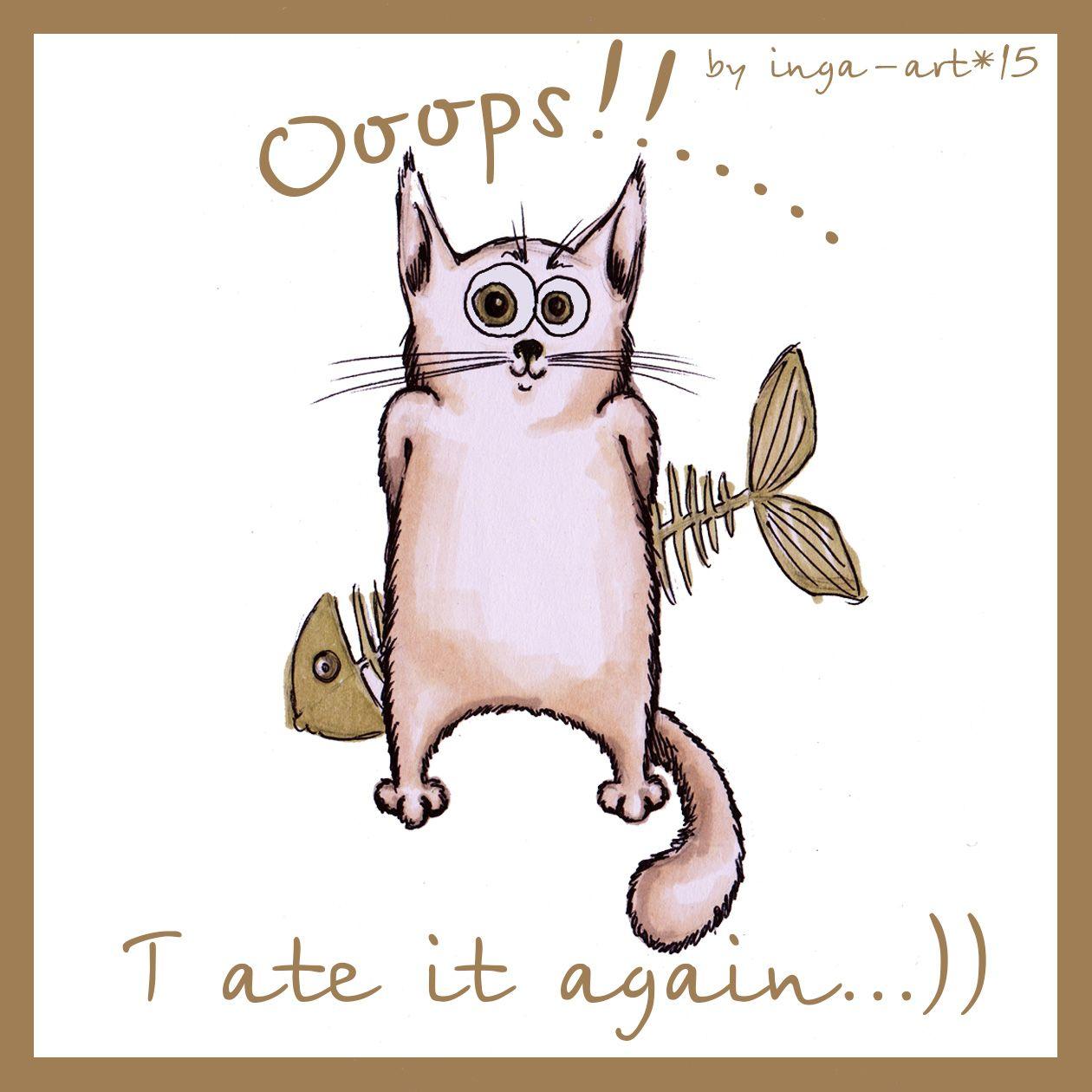 Посвящается праздничной еде и еде после 6и вечера)))а также котикам something about cats and food     #catBaton #cat #fish #food #art #illustration #paint #markers #pen #inspiration #eat  #sketch #myart