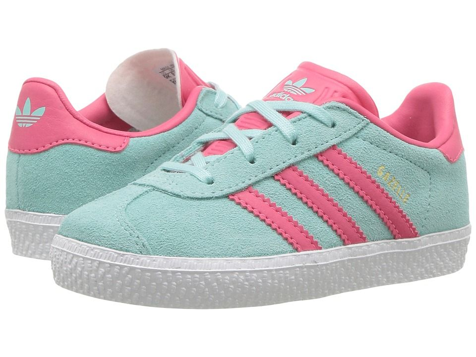 b920aeccda7e adidas Originals Kids Gazelle (Toddler) Girls Shoes Energy Aqua Super Pink  Gold