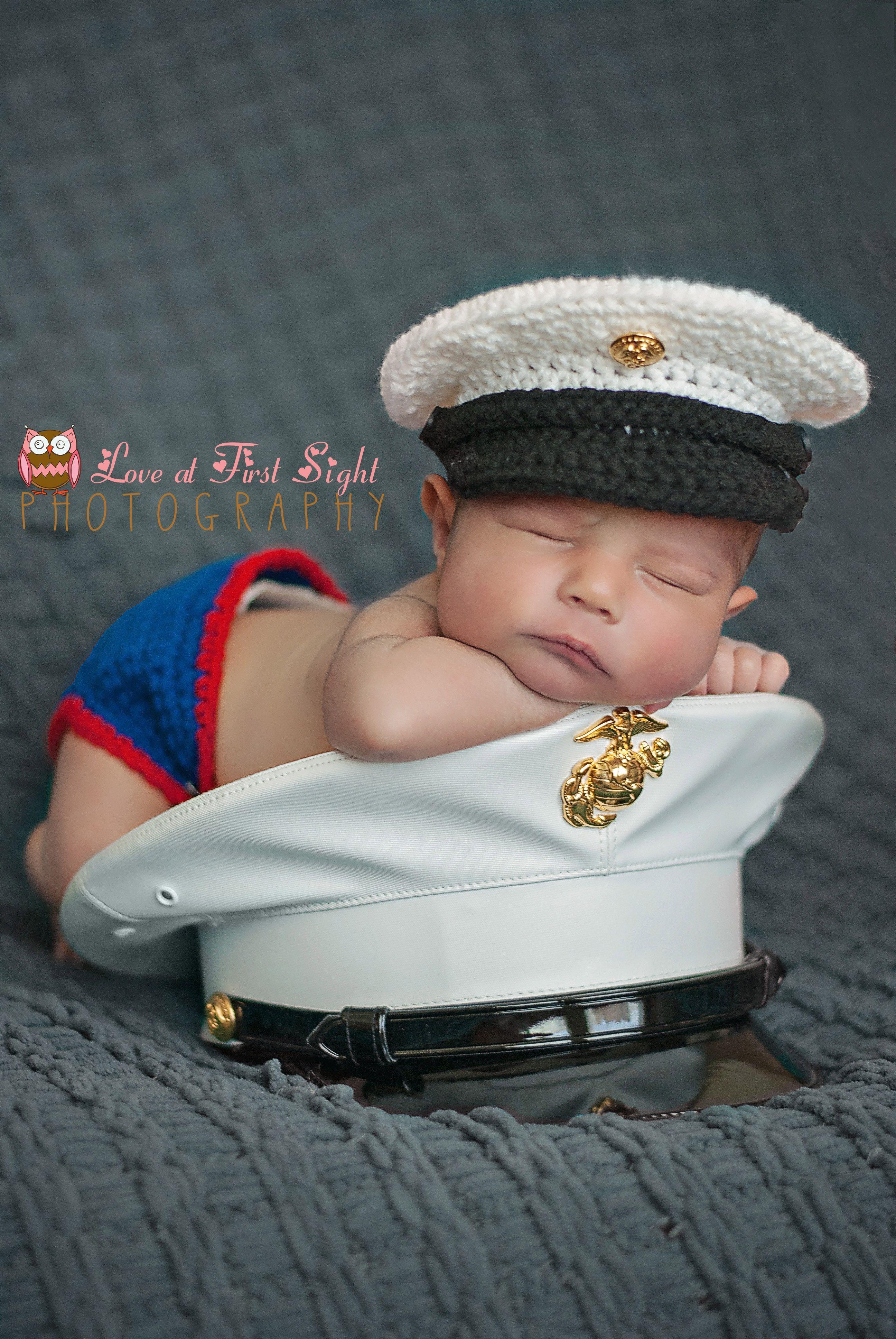 USMC dress blues Newborn Photography #marines #usmc #baby | USMC