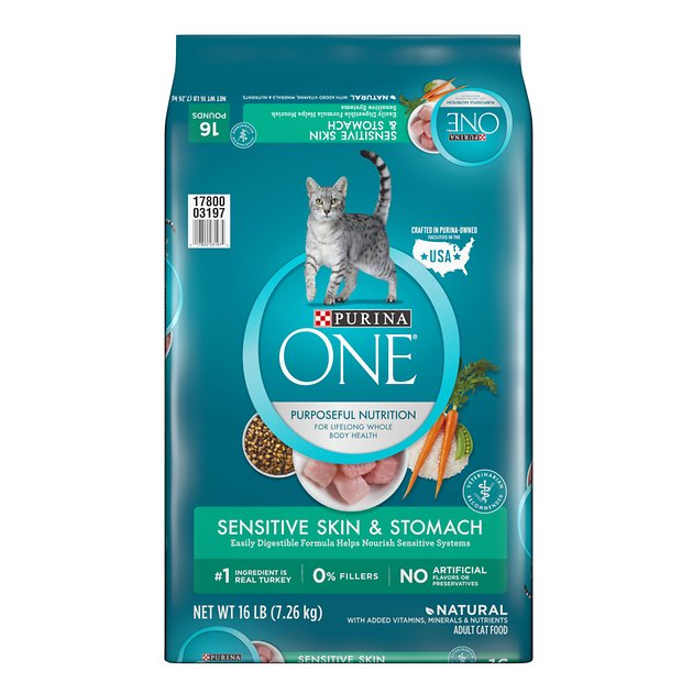 Buy Purina One Sensitive Skin Stomach Dry Cat Food 16 Lb Bag At Chewy Com Free Shipping And The Best Customer Service Dry Cat Food Cat Food Purina