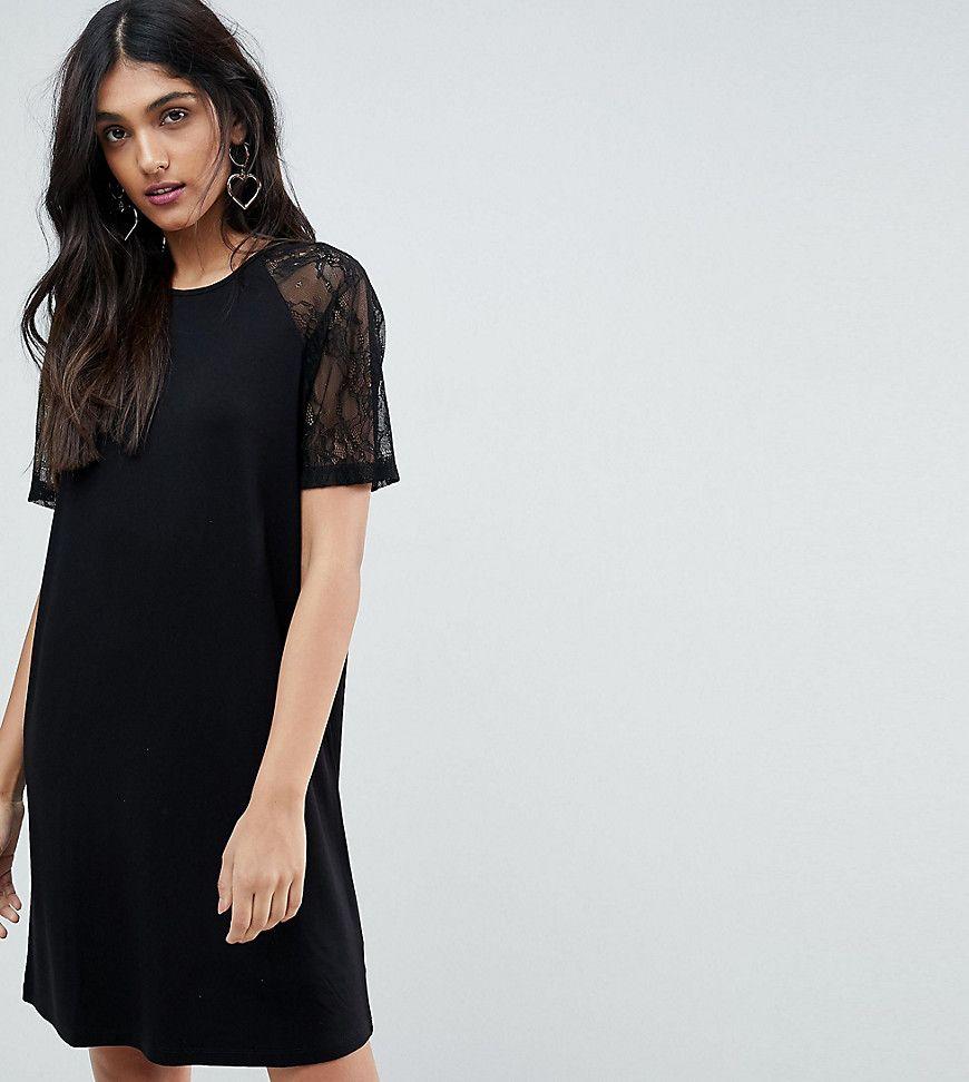ASOS TALL - T-Shirt-Kleid mit Raglanärmeln aus Spitze - Schwarz