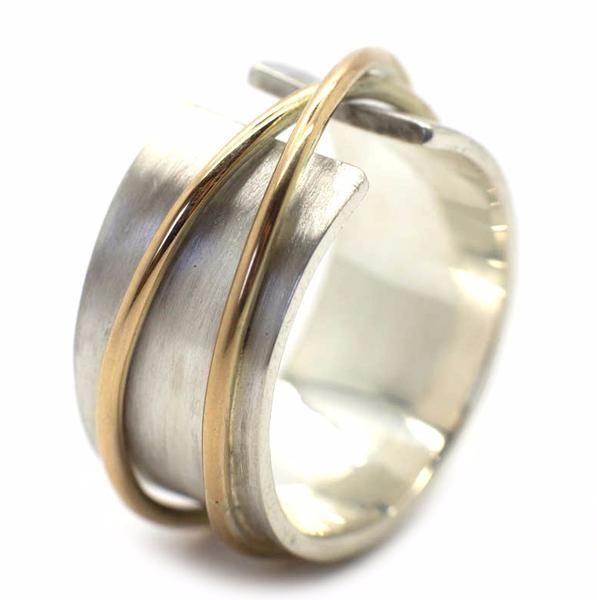 Wonderbaarlijk Zilveren ring met gouden ringen   Handgemaakt & Fairtrade   Nanini AP-67