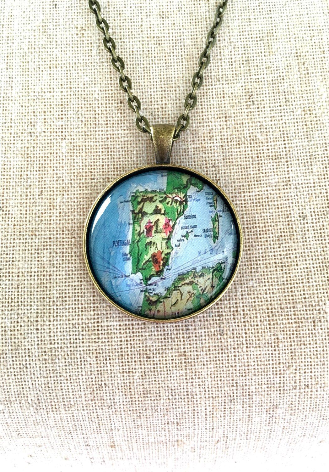 Spain world map globe necklace travel wanderlust unique gift globe necklace spain travel world map wanderlust unique by industrialwhimsy on etsy https gumiabroncs Image collections