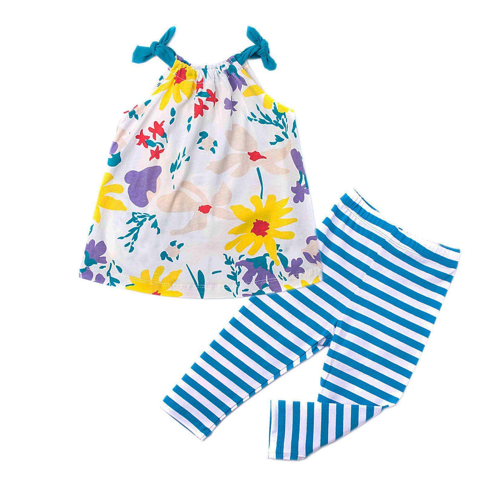 Mammybaby Little Girls Summer Halter Tops&Striped Shorts Beach