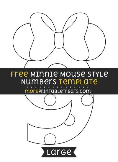 Free Minnie Mouse Style Number  Template  Large  Shapes And