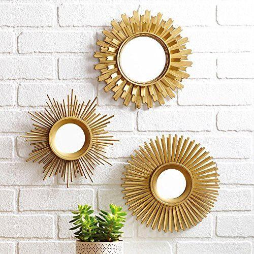 3 Piece Sunburst Wall Mirror Set Multiple Finishes Gold Gold