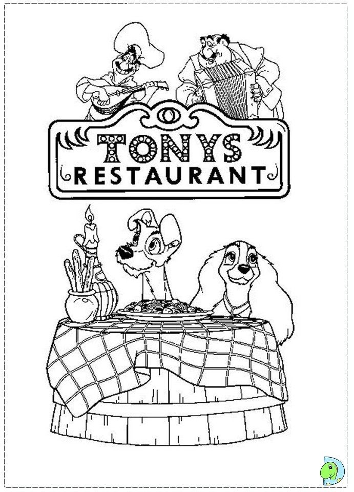 The Lady and the Tramp Coloring page