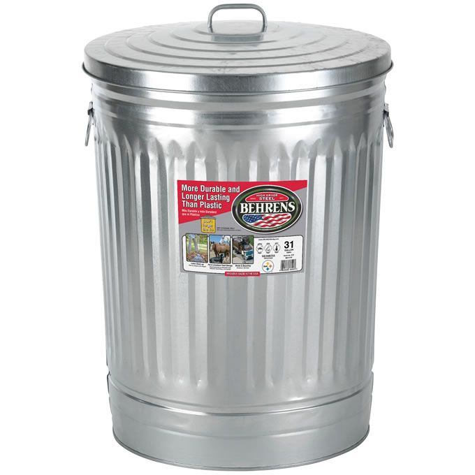 Behrens Steel Products Found At Lowe S Metal Trash Cans Trash Can Pet Food Storage