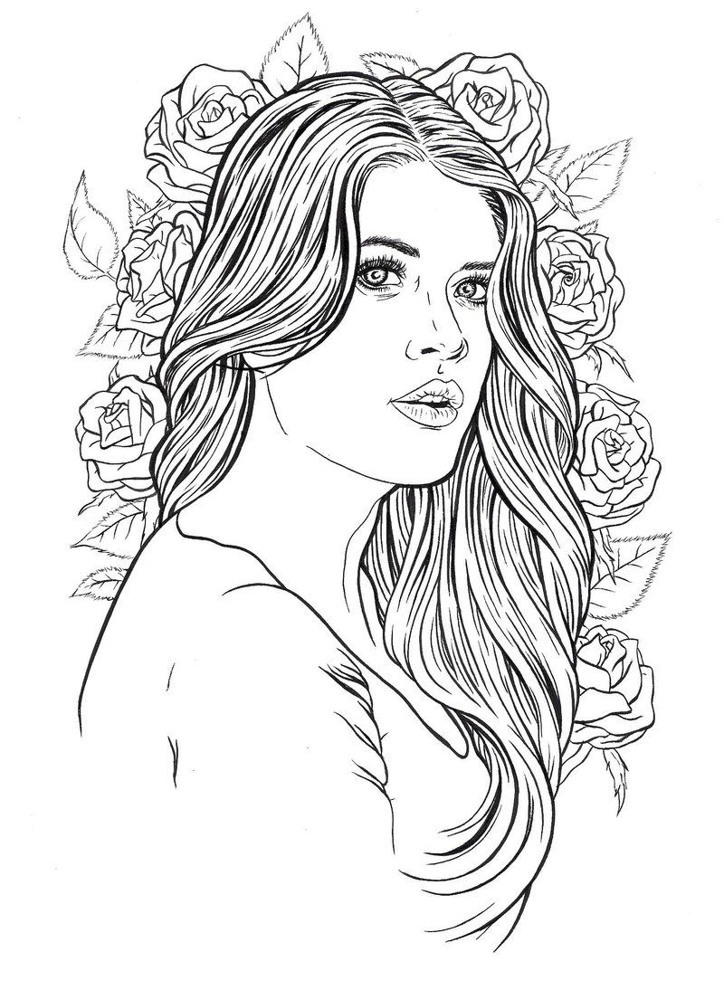 beautiful lady coloring pages for adults pinterest