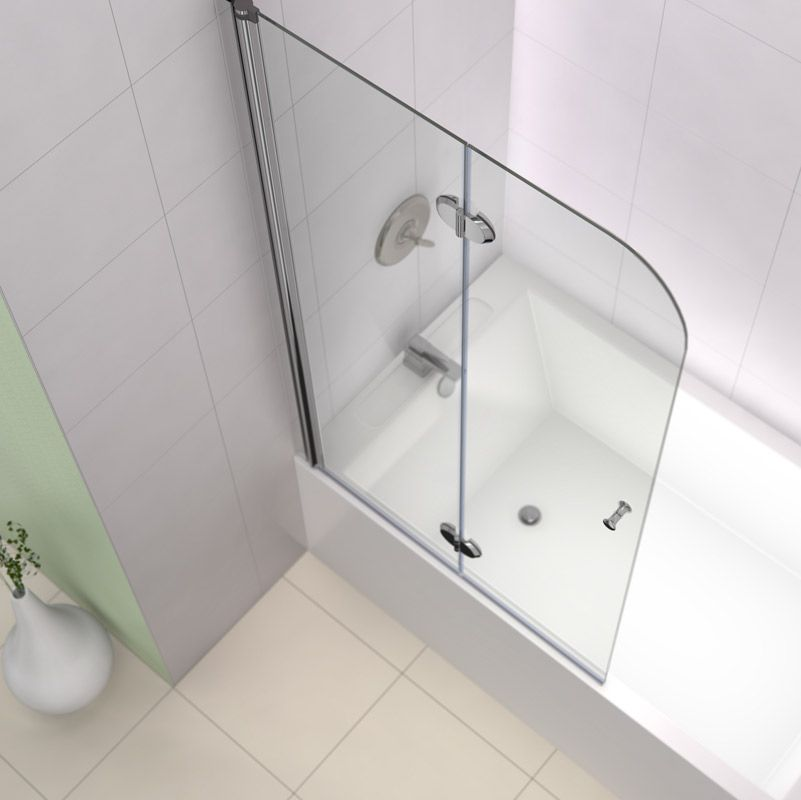 Dreamline Aquafold 36 Frameless Hinged Tub Door Clear 1 4 Glass