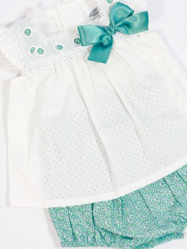 612861f52 conjunto blusa y braguita bebe rochy verano bebe niña verde - Ropa de bebé  -  Tienda online www.lesbebes.es