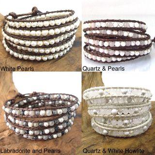 Natural Gemstone Snake Cord Leather 5-Wrap Bracelet White Quartz, goes with all