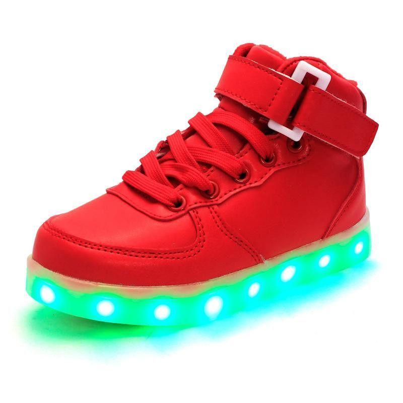 Unisex Children USB LED Light Shoes Luminous Sneakers Kids Lace Up Sport Shoes