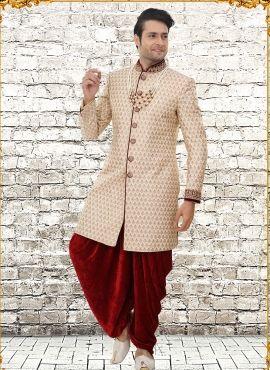f36e1bd4e54 Royal Rajasthani Style brocade Designer cream indowestern sherwani Indian Wedding  Clothes For Men