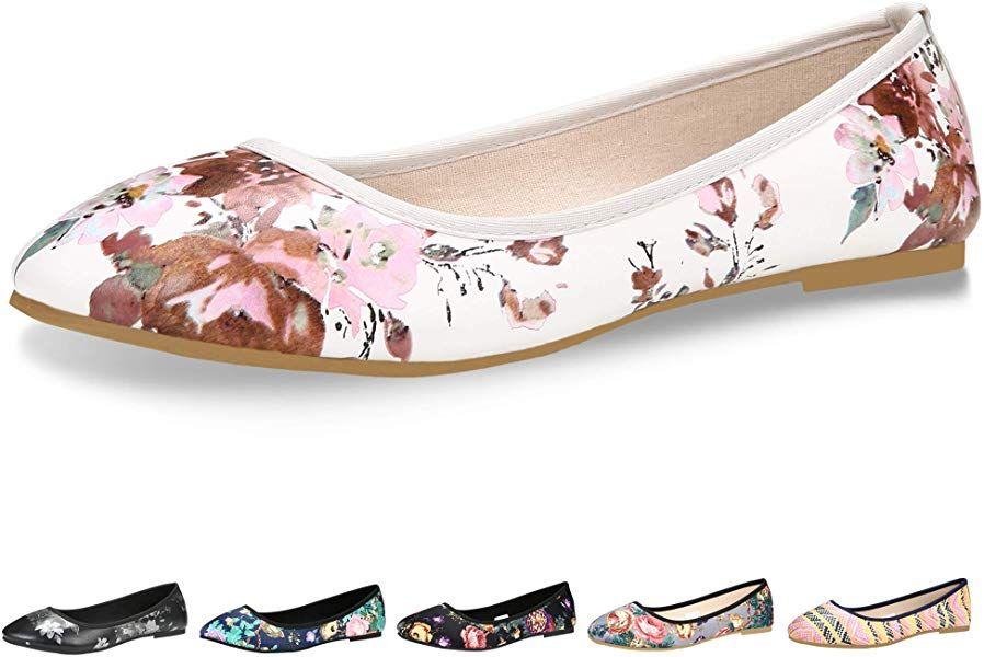 $20 CINAK Floral Flats Shoes for Women Classic Black Walking
