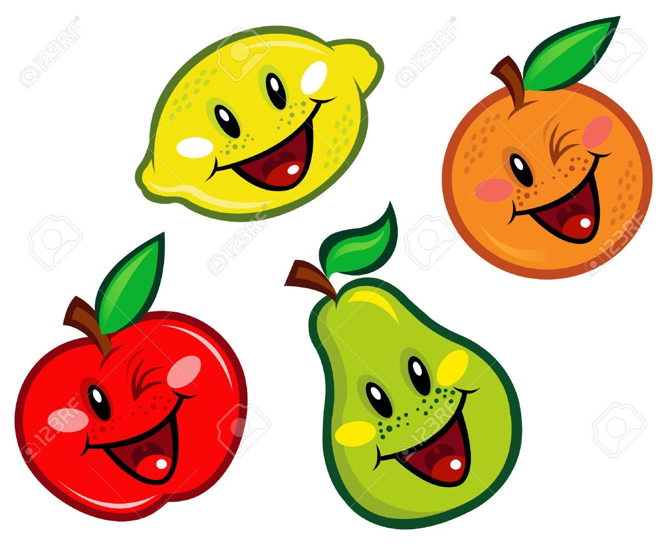 8777680-Happy-Fruits-Characters--Stock-Vector-fruits