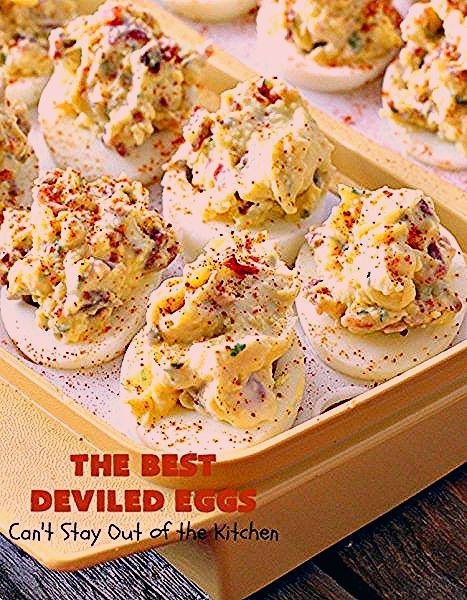 The BEST Deviled Eggs | Can't Stay Out of the Kitchen | my Mom's fabulous recipe. These have a secr
