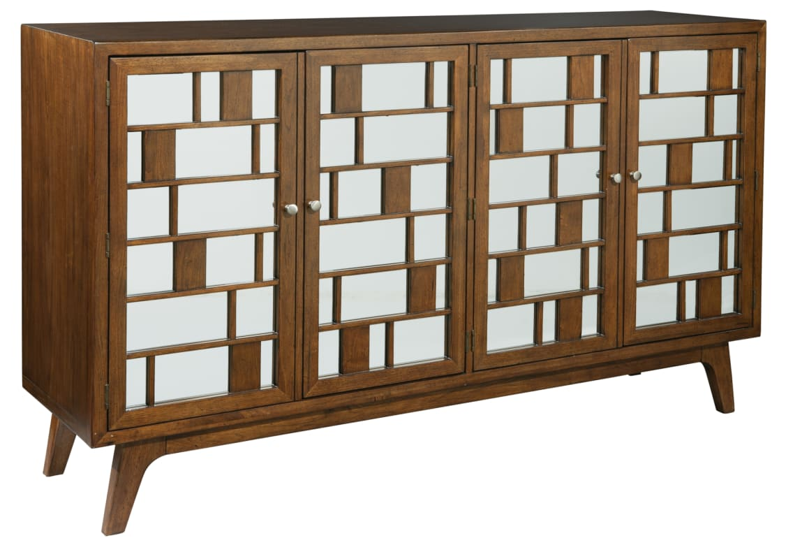 Hekman 27445 Mid Century Modern 72 Inch Wide Wood Media Cabinet With Mirror  Glas Special Reserve Indoor Furniture Entertainment Media Cabinet