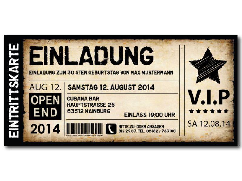 Einladungskarten für Geburtstag • Eintrittskarte • Ticket • Karte • Einladung