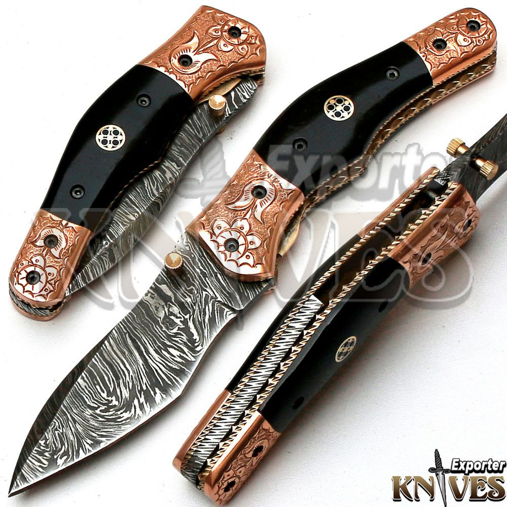 Knives Exporter Custom Made Damascus Steel USA Liner Lock Folding Knife KE-F68 #KnivesExporter