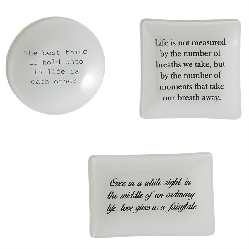 Traditional French Decoupage Style Gl Trays Feature Love Quotes Bottoms Of