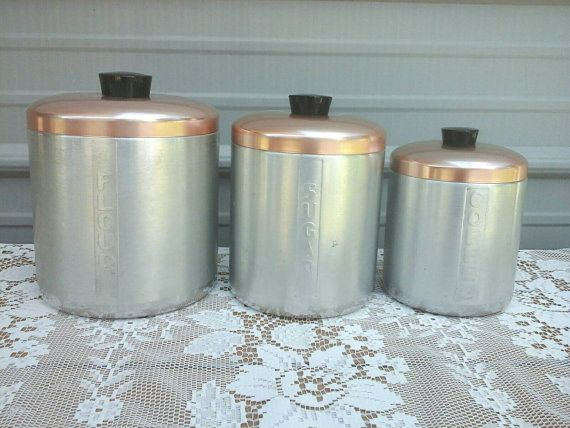 Aluminum Canisters Vintage Storage by CrystalLightDesigns on Etsy