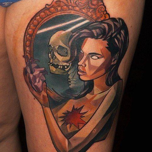 Skull/woman Mirror Tattoo | Mirror tattoos, Intricate ...