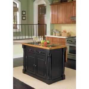 HOMESTYLES Monarch Black Kitchen Island With Seating 5009 ...