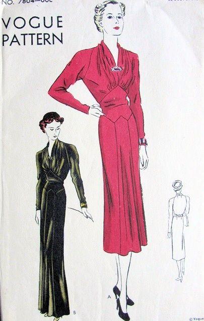 1930s EVENING GOWN DRESS PATTERN  SOFT DRAPERY V NECKLINE, CORSELET WAIST, LOVELY STYLE  VOGUE 7804