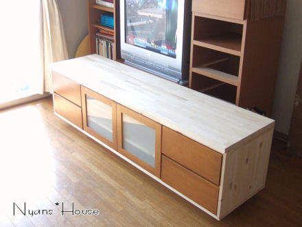 手作りテレビ台のdiy作品集 ボード 自作 画像 設計図 作り方 ハンドメイド 日 Home Decor Storage Bench Furniture