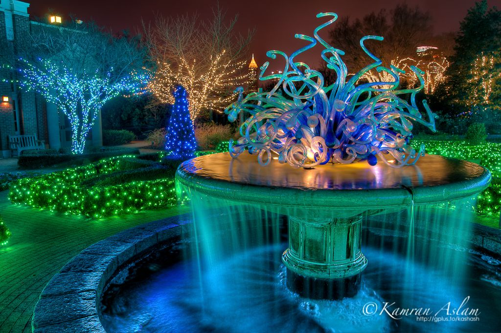 Atlanta Botanical Garden Water Fountain At Night Lights Event 1,024×680  Pixels | Garden Inspiration | Pinterest | Net Lights, Christmas Lights And  ...