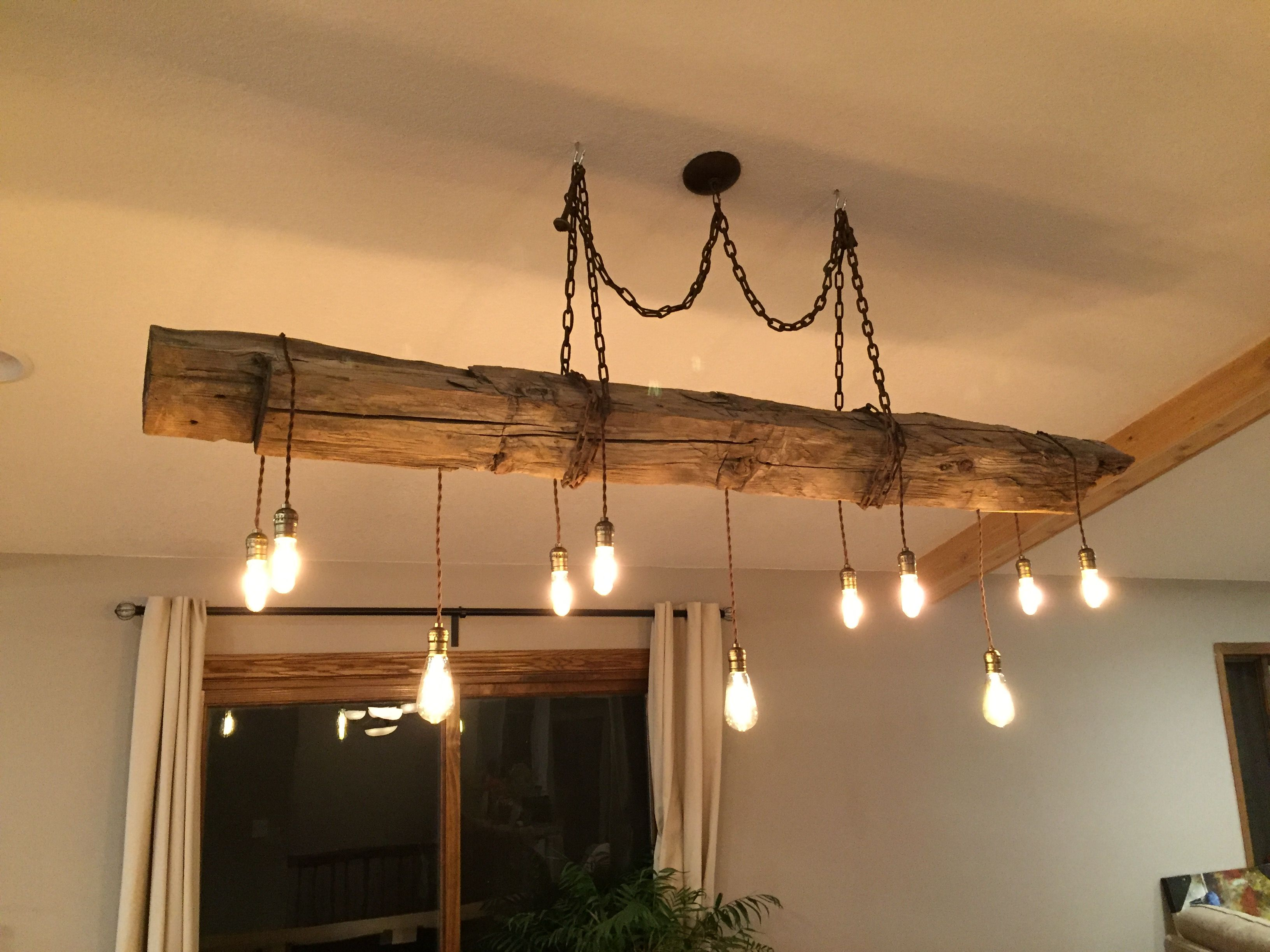 chandelier pin hand reclaimed diy barn beam dimmable bulbs hewn edison with led