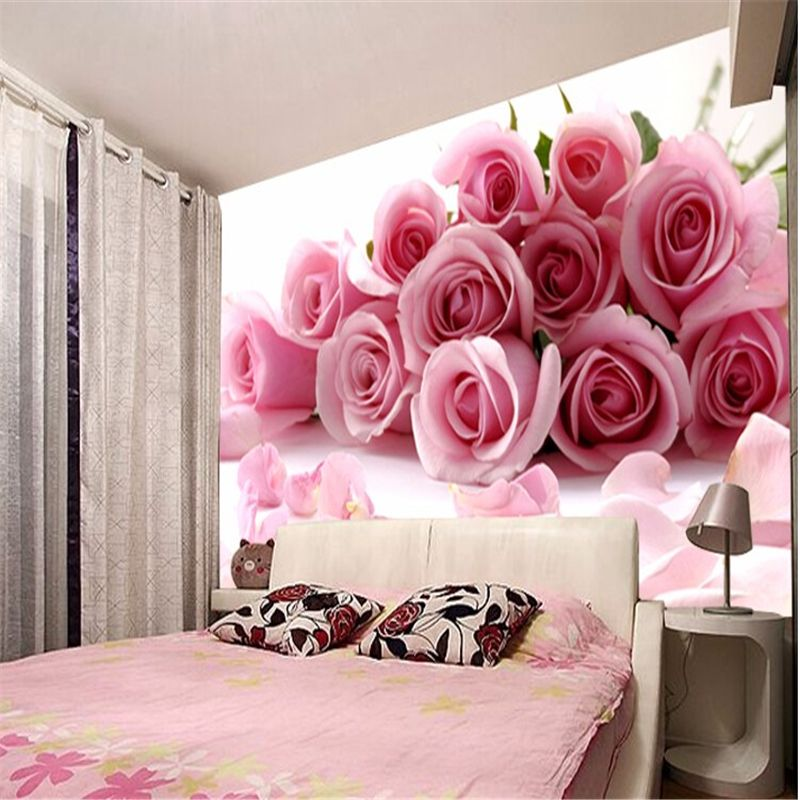 beibehang papel de parede 3D photo wallpaper Romantic painting Pink ...