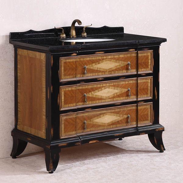Antique Legion 44 Inch Bathroom Vanity Black Granite Top Light Brown