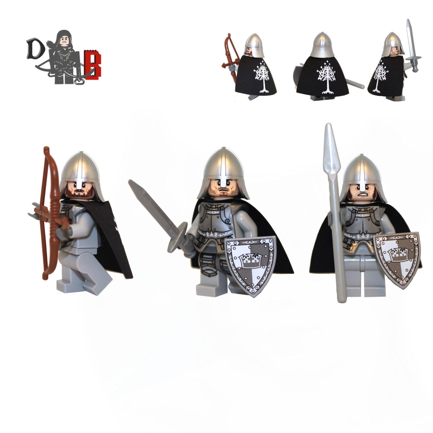 Custom The Lord of the Rings - Gondor Soldier battle 3 pack of ...
