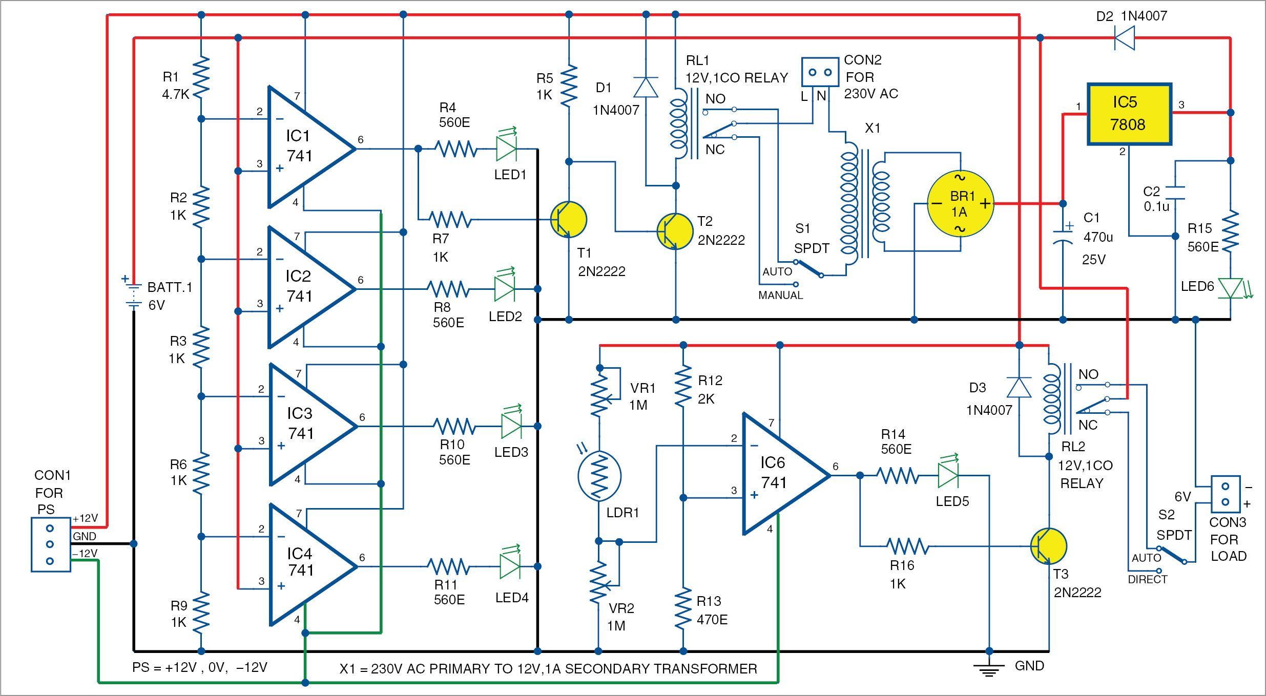Automatic Light and Overcharging Control With Voltage-Level