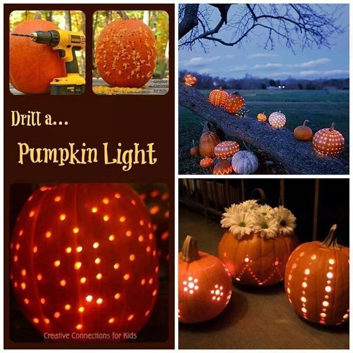 Drilling a pumpkin for Halloween lights jack o lantern