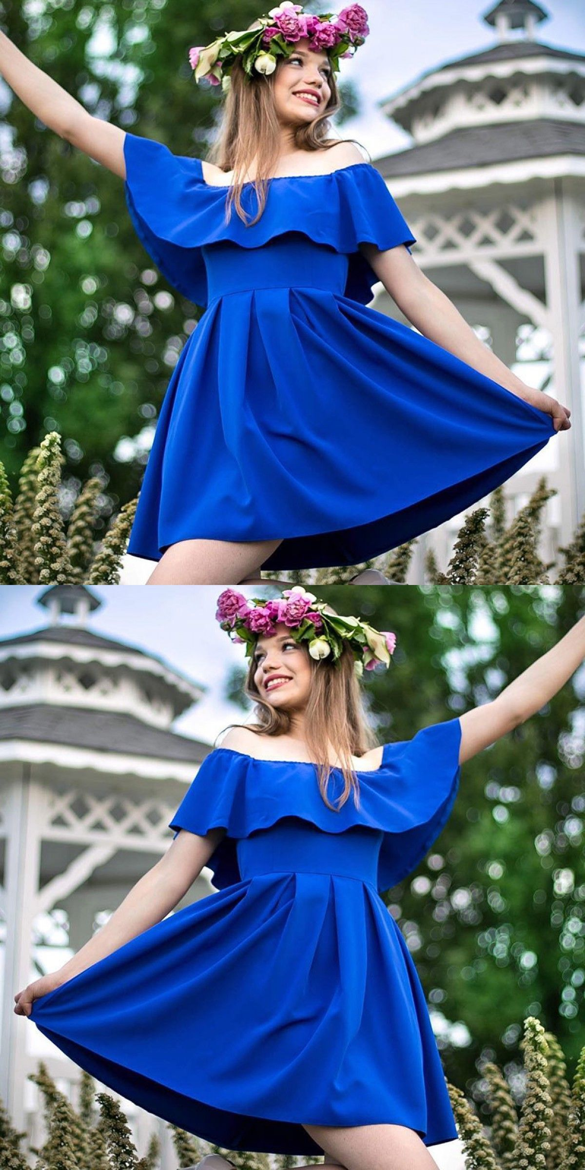 Aline off the shoulder royal blue homecoming dress homecoming