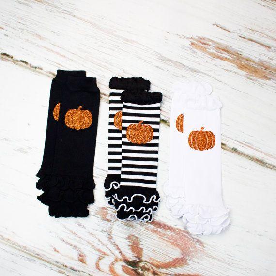 baby halloween leg warmers pumpkin leg warmers variety pack of black white
