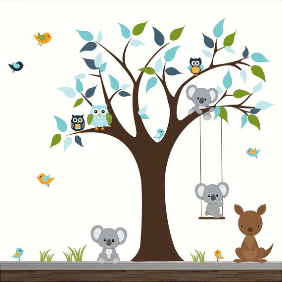 B b cr che mur stickers enfants chambre wall decor arbre for Stickers animaux chambre bebe
