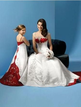 0a63c272209 Red and white Bride and Matching miniature bride dresses