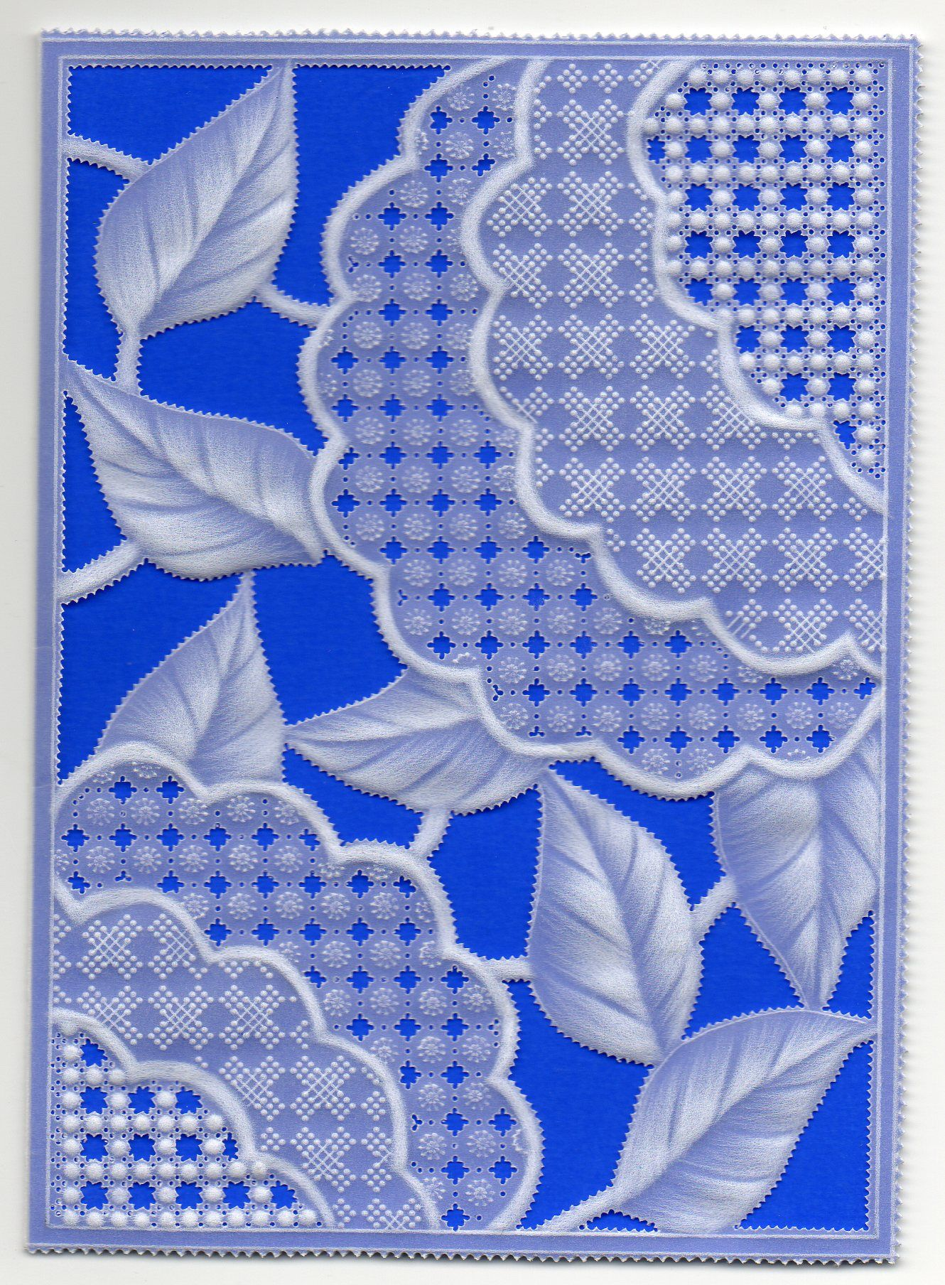 gridwork, embossing and cutwork with a blue background