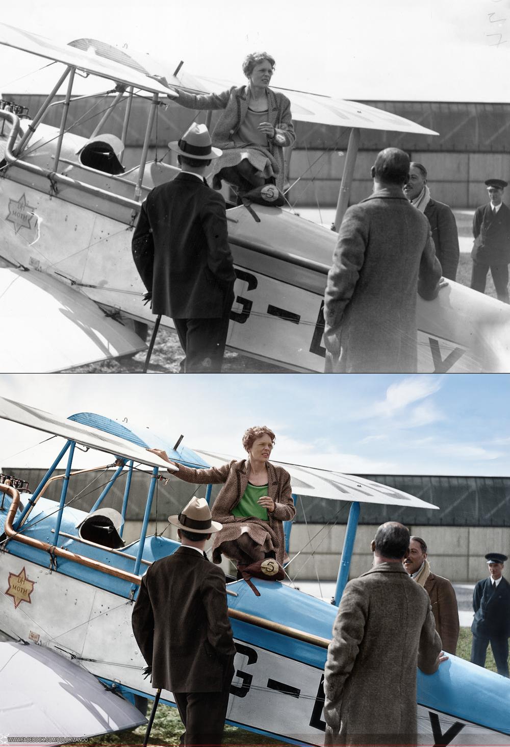 """Amelia Earhart (1897-1937) foi pioneira norte-americana na aviação dos Estados Unidos. Foi defensora dos direitos das mulheres e a primeira mulher a pilotar sozinha pelo oceano Atlântico. Recebeu a condecoração """"The Distinguished Flying Cross"""" por ter realizado o feito.  http://colorizandopage.blogspot.com.br/"""