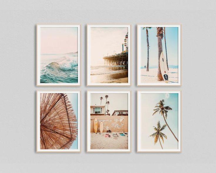 California Surf Art Set of 6 Prints Beach Wall Art
